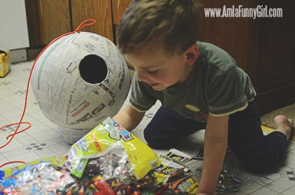 Filling our Death Star piñata