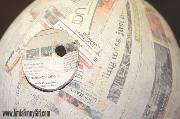 Close up of in-process paper mache Death Star piñata