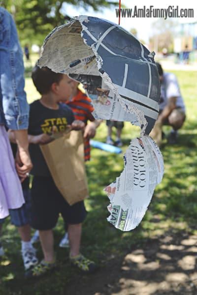 The Death Star piñata destroyed