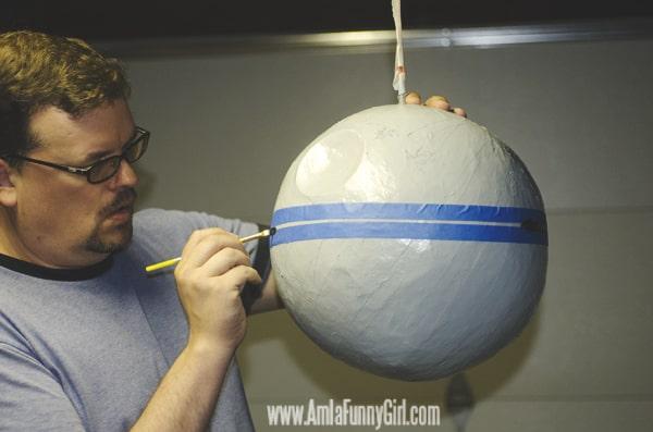 Adding details to our Death Star piñata