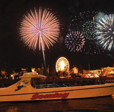 I'm on a boat! In Chicago! With fireworks! Is this heaven?