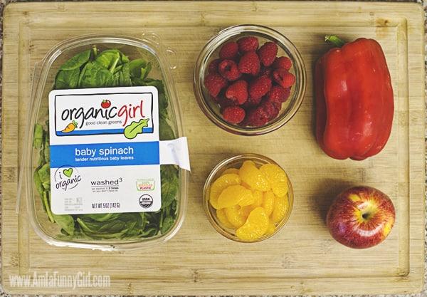 #FreshFinds Organic Girl Spinach with Raspbarries on Cutting Board #shop