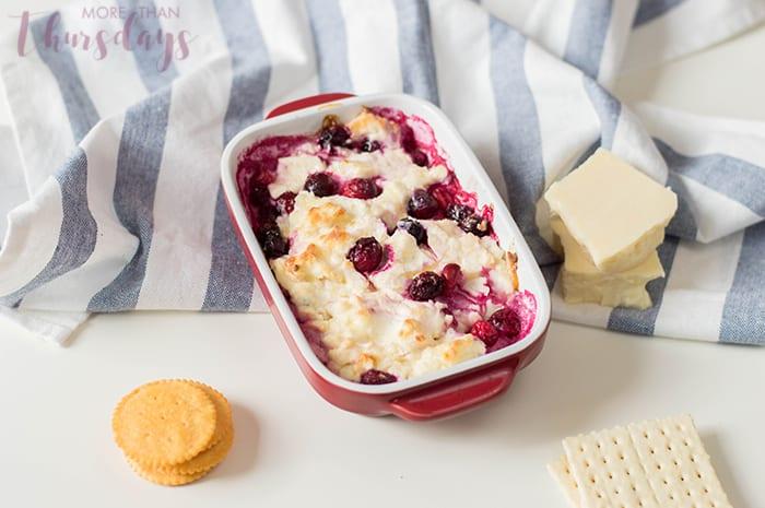 Cranberry cheddar dip in pan