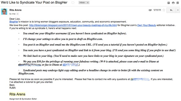 syndicate on blogher email