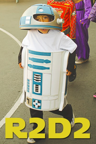 Built on a trash can, this homemade R2D2 costume DIY will be the hit of any Halloween party!