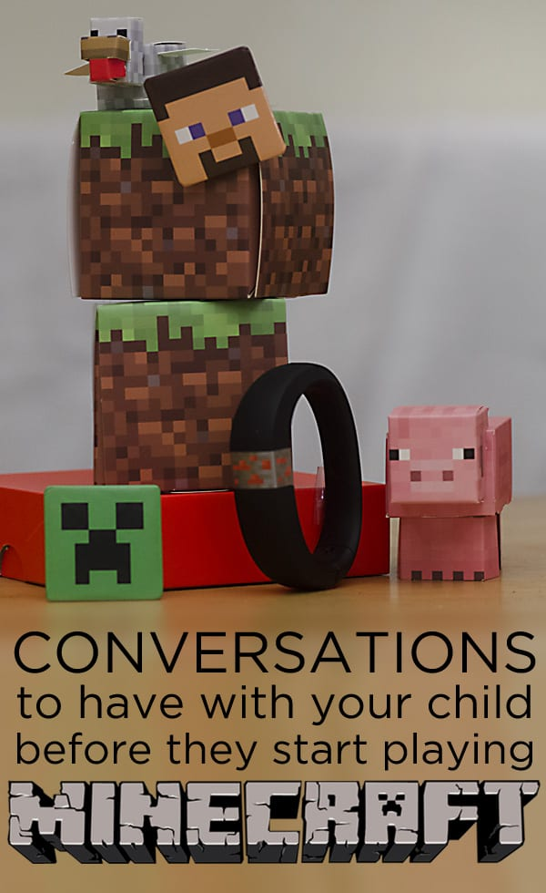 Some suggested conversations to have with your child before they start playing Minecraft. #Gameonthego with Gameband for Minecraft #ad