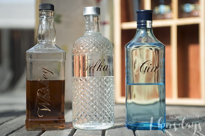 Bottles with labels