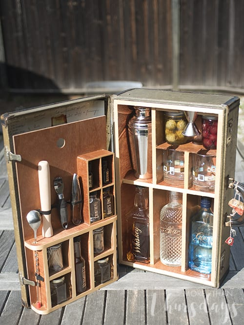 Vintage suitcase turned portable bar