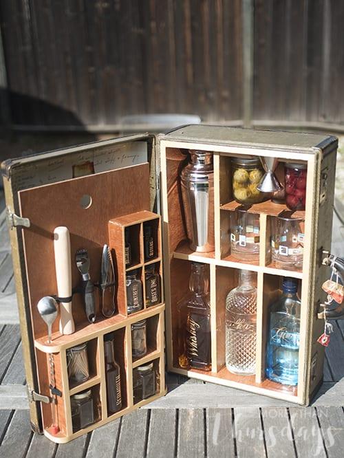 Vintage suitcase turned portable bar