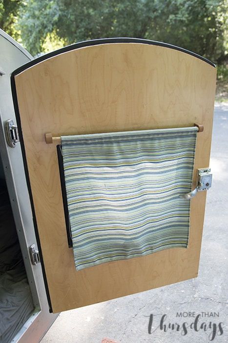 trailer door curtain down