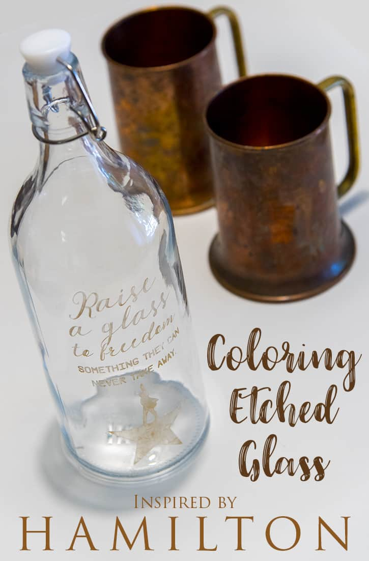 Coloring etched glass - Your Silhouette, some etching cream, and a tube of Rub n Buff is all you need to make this colored etched glass.