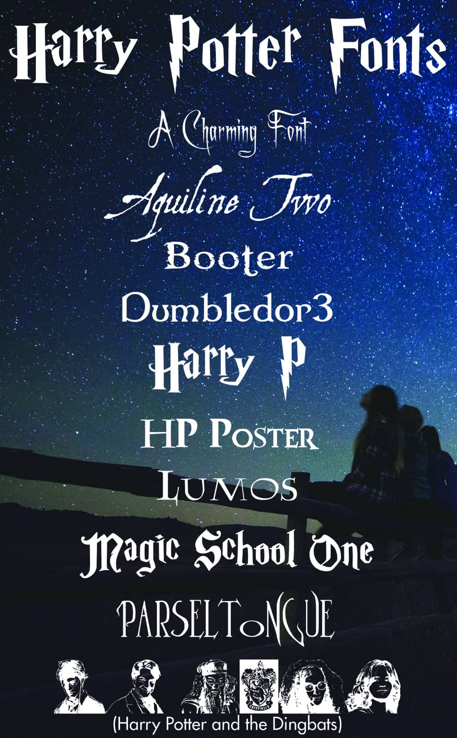 Links to free Harry Potter free fonts