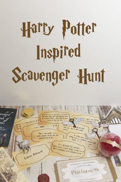 Harry Potter scavenger hunt complete with clues