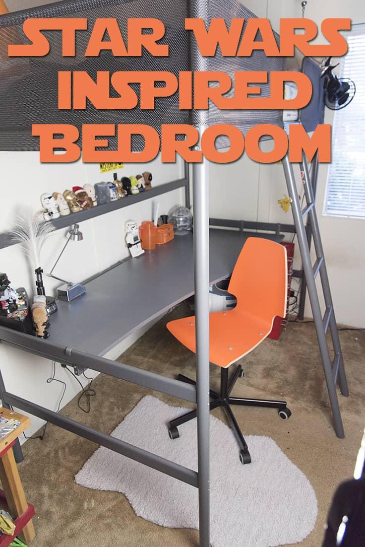 Check out this Star Wars bedroom featuring an amazing custom Death Star light. #boyroom #DIY #homedecor