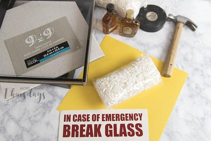 Emergency shadowbox supplies