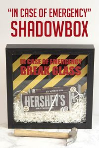 """In case of emergency"" shadowbox"