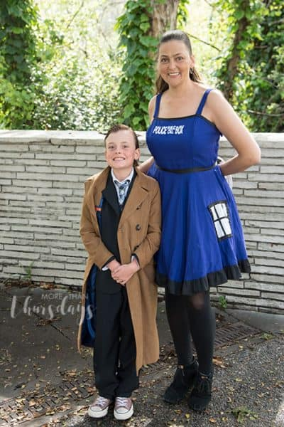 Kids' Dr. Who cosplay plus mom in a Tardis dress