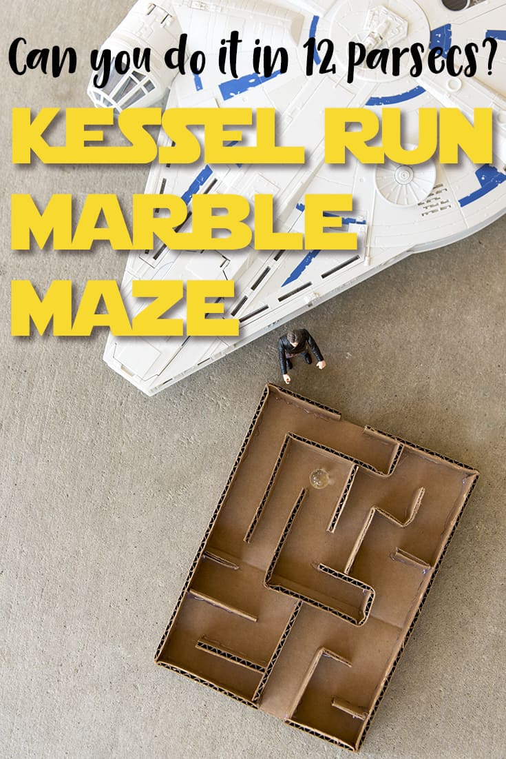 Can you do it in less than 12 parsecs? This easy-to-make Kessel Run Marble Maze is a fun challenge for your #StarWars fan! #HanSolo #KesselRun #DIY #SoloMovie #upcycled #cardboardcrafts