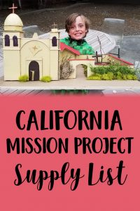 California Mission Project Supply List