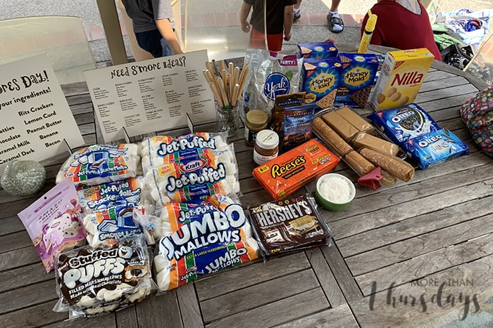 S'mores bar all ingredients