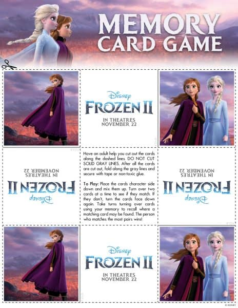 Frozen 2 Family Activity Sheets Memory game