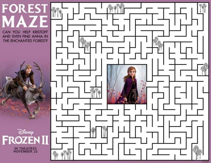 Frozen 2 Family Activity Sheets Maze