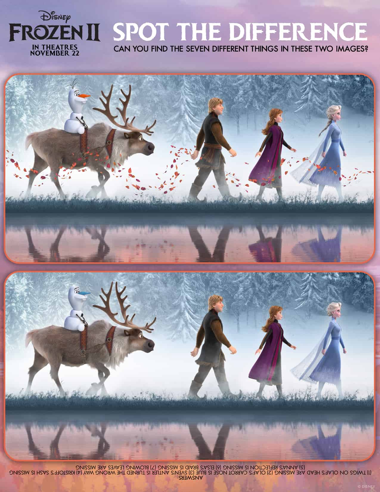 Frozen 2 Family Activity Sheets Spot the Difference