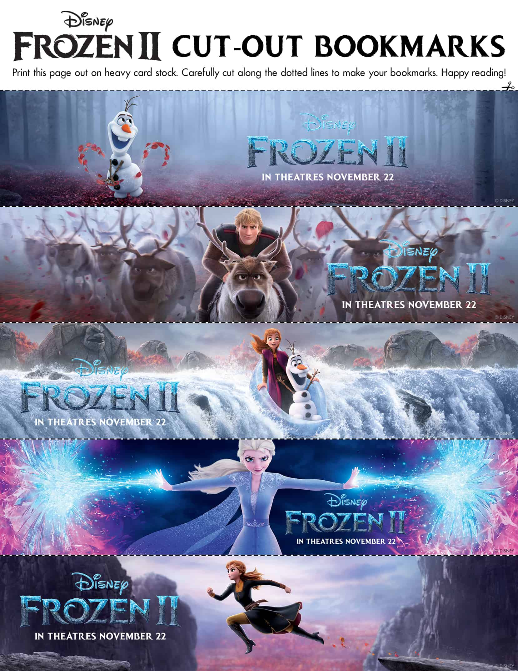 Frozen 2 Family Activity Sheets Bookmarks