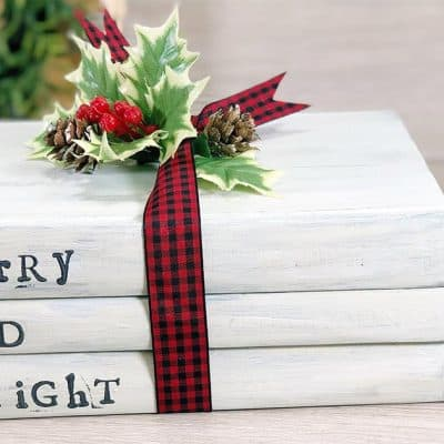 Merry and Bright Book Stack Decor